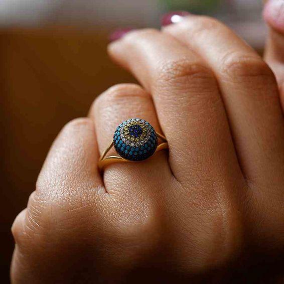 Mücevher Dünyası - 14 Ayar Taş işlemeli Altın Bayan Yüzük | Mücevher Dünyası