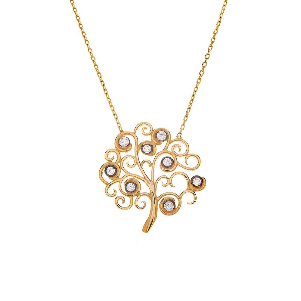 Mücevher Dünyası - 14 Ayar Taşlı Ağaç Figürlü Altın Kolye