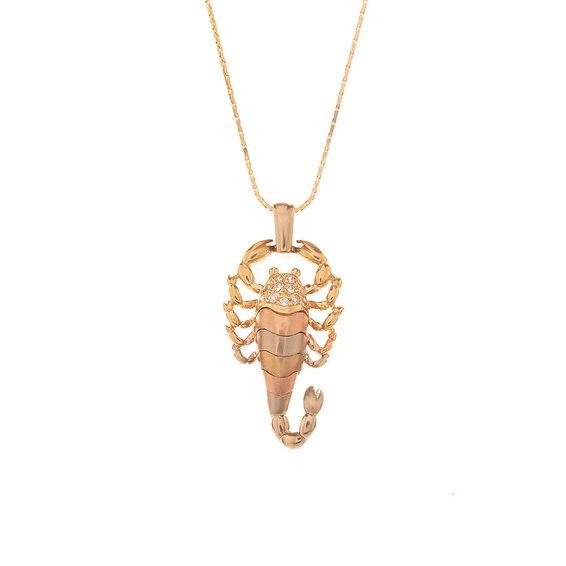 Mücevher Dünyası - 14 Ayar Taşlı Akrep Altın Kolye