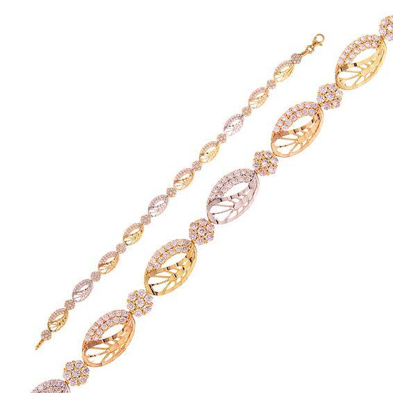 Mücevher Dünyası - 14 Ayar Taşlı Altın Bileklik