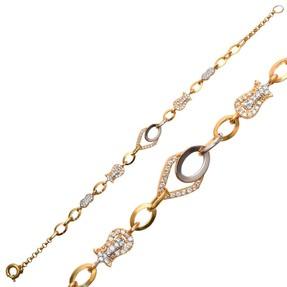 Mücevher Dünyası - 14 Ayar Taşlı Altın Bileklik | Mücevher Dünyası