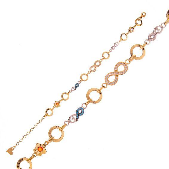 Mücevher Dünyası - 14 Ayar Taşlı Sonsuzluk Altın Bileklik