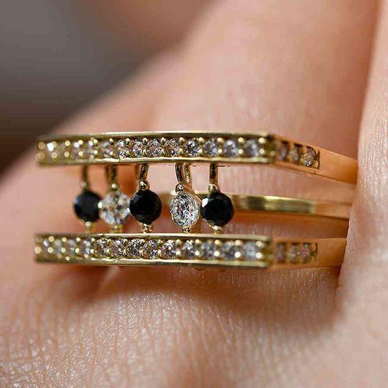 Mücevher Dünyası - 14 Ayar Taşlı Altın Fantezi Yüzük | Mücevher Dünyası
