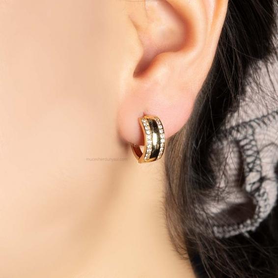 Mücevher Dünyası - 14 Ayar Taşlı Altın Küpe