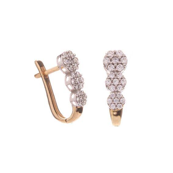 Mücevher Dünyası - 14 Ayar Üç Sıra Taşlı Altın Küpe