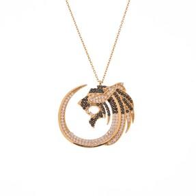 Mücevher Dünyası - 14 Ayar Taşlı Aslan Figürlü Altın Kolye