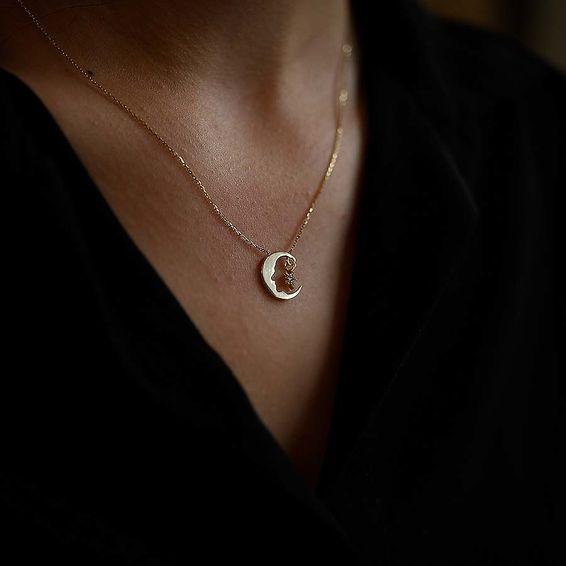 Mücevher Dünyası - 14 Ayar Taşlı Atatürk Ayyıldız Altın Kolye