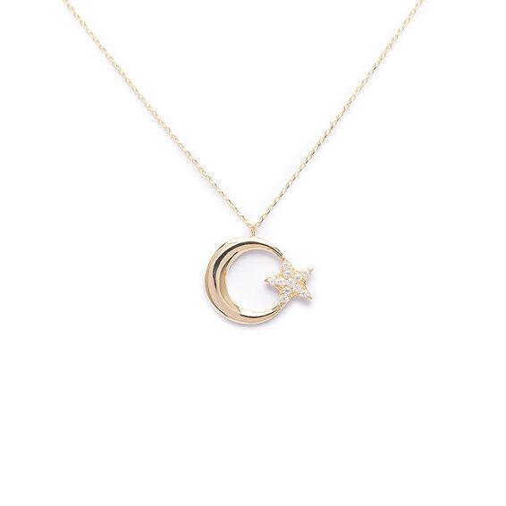 Mücevher Dünyası - 14 Ayar Taşlı Ayyıldız Altın Kolye