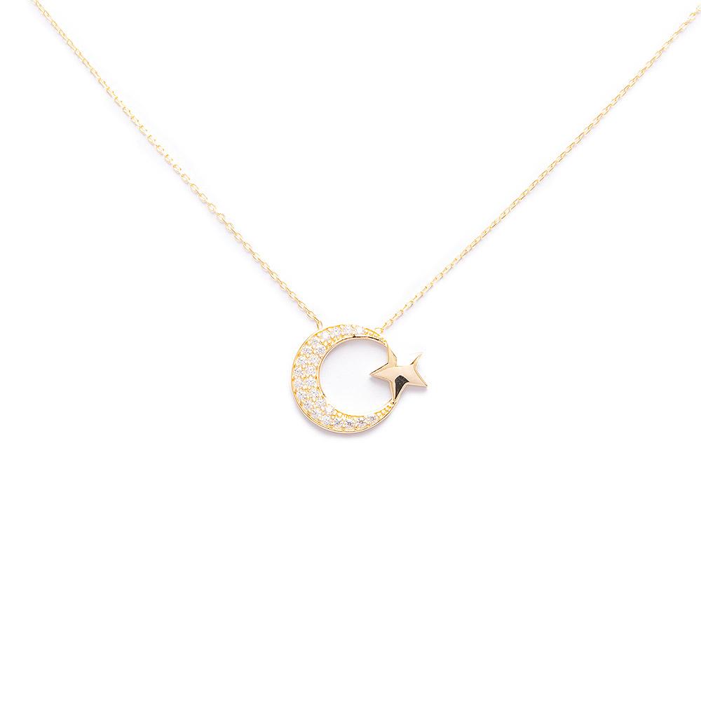 Mücevher Dünyası - 14 Ayar Taşlı Ay Yıldız Altın Kolye