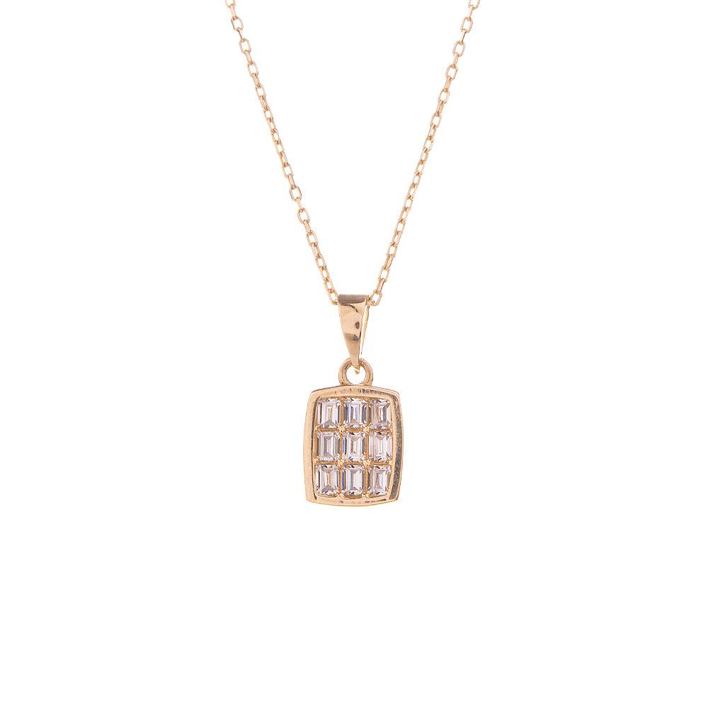 Mücevher Dünyası - 14 Ayar Taşlı Baget Altın Kolye