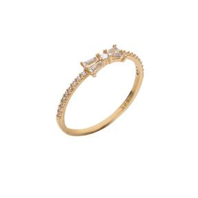 Mücevher Dünyası - 14 Ayar Taşlı Baget Altın Yüzük