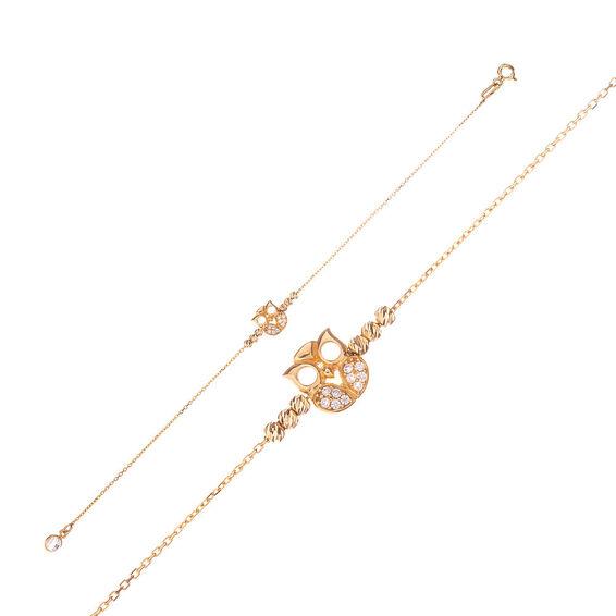 Mücevher Dünyası - 14 Ayar Taşlı Baykuş Dorika Altın Bileklik - 18,5 Cm.
