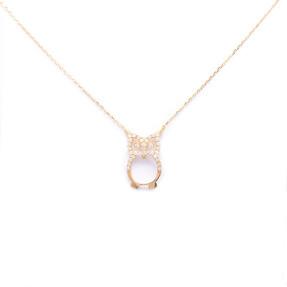 Mücevher Dünyası - 14 Ayar Taşlı Baykuş Altın Kolye
