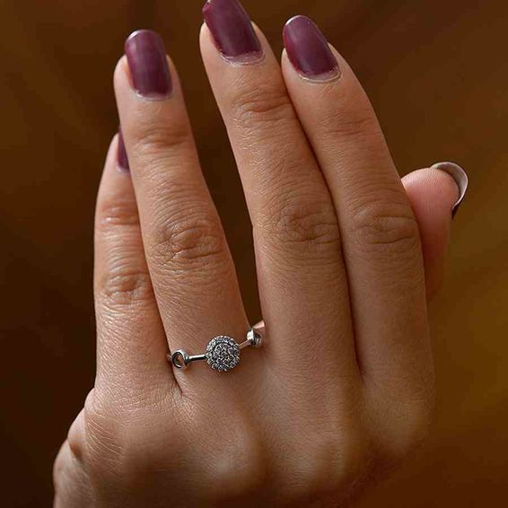 Mücevher Dünyası - 14 Ayar Taşlı Beyaz Altın Yüzük | Mücevher Dünyası