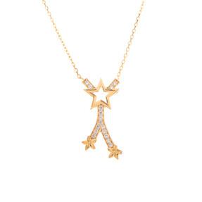 Mücevher Dünyası - 14 Ayar Taşlı Çiçek Desenli Yıldız Altın Kolye