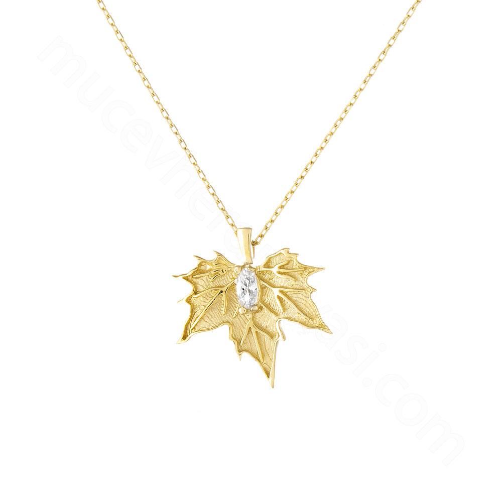 Mücevher Dünyası - 14 Ayar Taşlı Çınar Yaprağı Altın Kolye