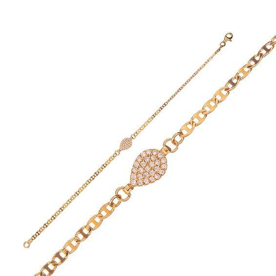 Mücevher Dünyası - 14 Ayar Taşlı Damla Altın Bileklik - 18 Cm.