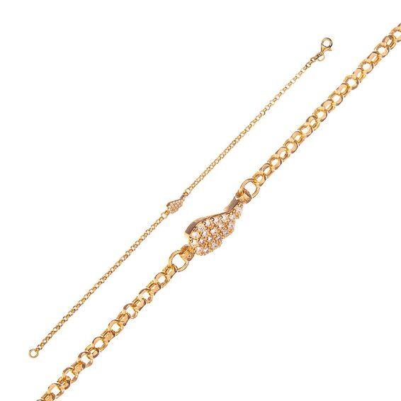 Mücevher Dünyası - 14 Ayar Taşlı Kanat Altın Bileklik - 18 Cm.
