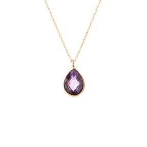 Mücevher Dünyası - 14 Ayar Taşlı Damla Altın Kolye