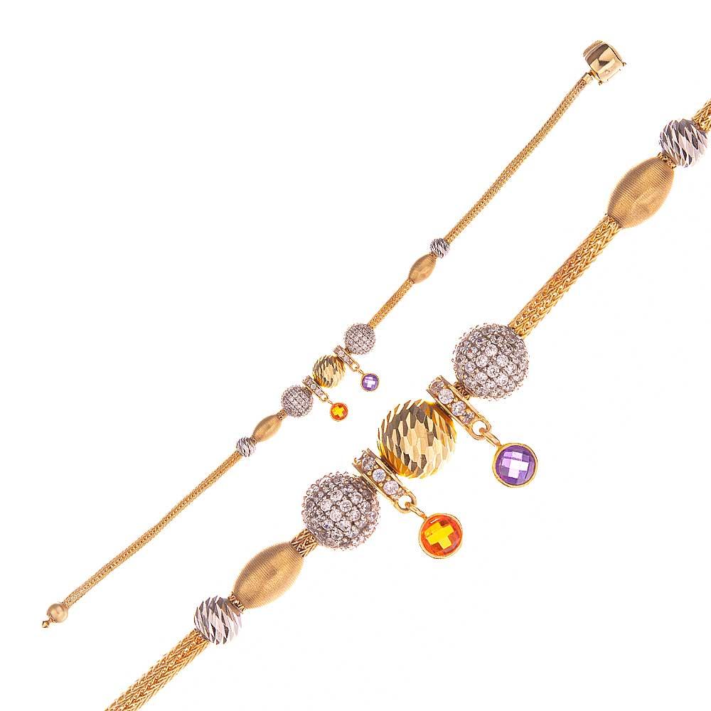 Mücevher Dünyası - 14 Ayar Taşlı Dorika Altın Bileklik - 19 Cm.