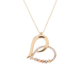 Mücevher Dünyası - 14 Ayar Taşlı Dorika Kalp Altın Kolye
