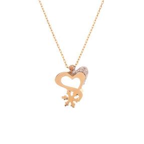Mücevher Dünyası - 14 Ayar Taşlı Dorika Kalpli Kristal Altın Kolye