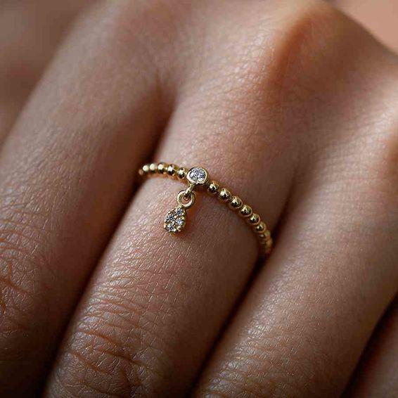 Mücevher Dünyası - 14 Ayar Taşlı Eklem Yüzük   Mücevher Dünyası - 14