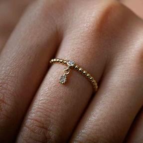 Mücevher Dünyası - 14 Ayar Taşlı Eklem Yüzük   Mücevher Dünyası