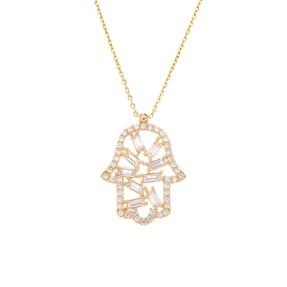 Mücevher Dünyası - 14 Ayar Taşlı Fatma Ananın Eli Altın Kolye