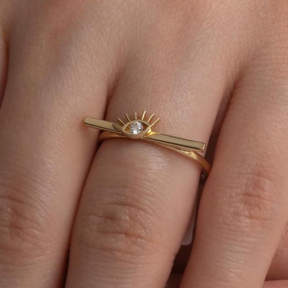 Mücevher Dünyası - 14 Ayar Taşlı Göz Altın Yüzük - 16