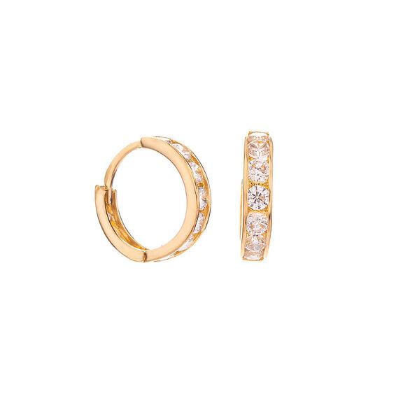 Mücevher Dünyası - 14 Ayar Taşlı Halka Altın Küpe