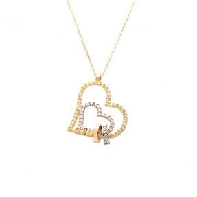 Mücevher Dünyası - 14 Ayar Taşlı Halka Yüzük Ve Kalp Altın Kolye