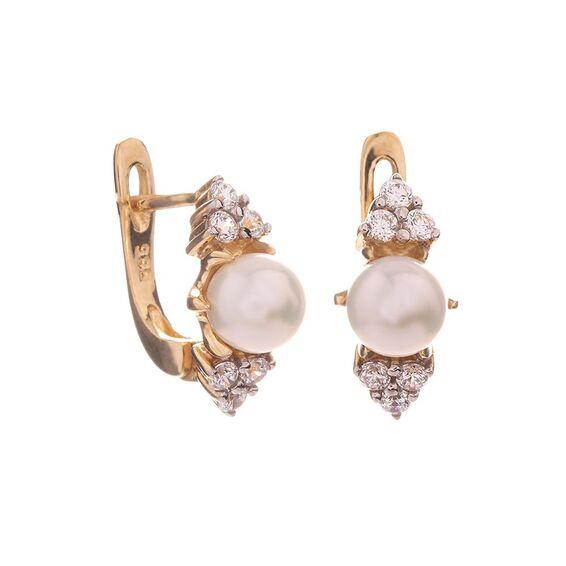 Mücevher Dünyası - 14 Ayar Taşlı İnci Altın Küpe