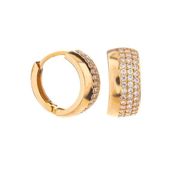 Mücevher Dünyası - 14 Ayar Taşlı Kalın Halka Altın Küpe