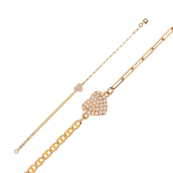 Mücevher Dünyası - 14 Ayar Taşlı Kalp Altın Bileklik - 18 Cm.
