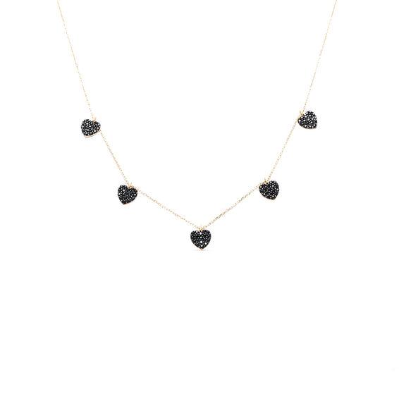 Mücevher Dünyası - 14 Ayar Taşlı Kalp Altın Kolye