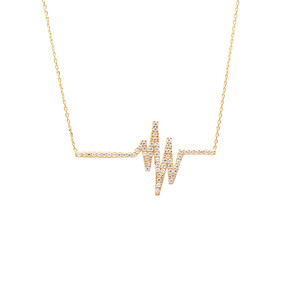 Mücevher Dünyası - 14 Ayar Taşlı Kalp Ritmi Altın Kolye