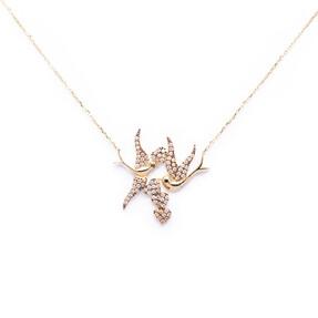 Mücevher Dünyası - 14 Ayar Taşlı Kalpli Kuş Altın Kolye
