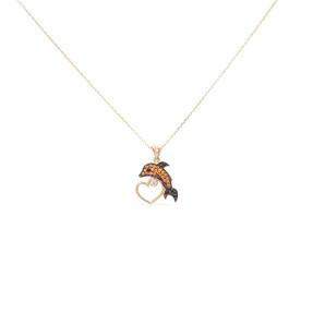 Mücevher Dünyası - 14 Ayar Taşlı Kalpli Yunus Balığı Altın Kolye
