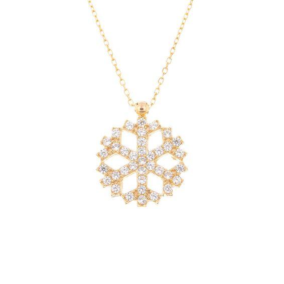 Mücevher Dünyası - 14 Ayar Taşlı Kar Tanesi Altın Kolye