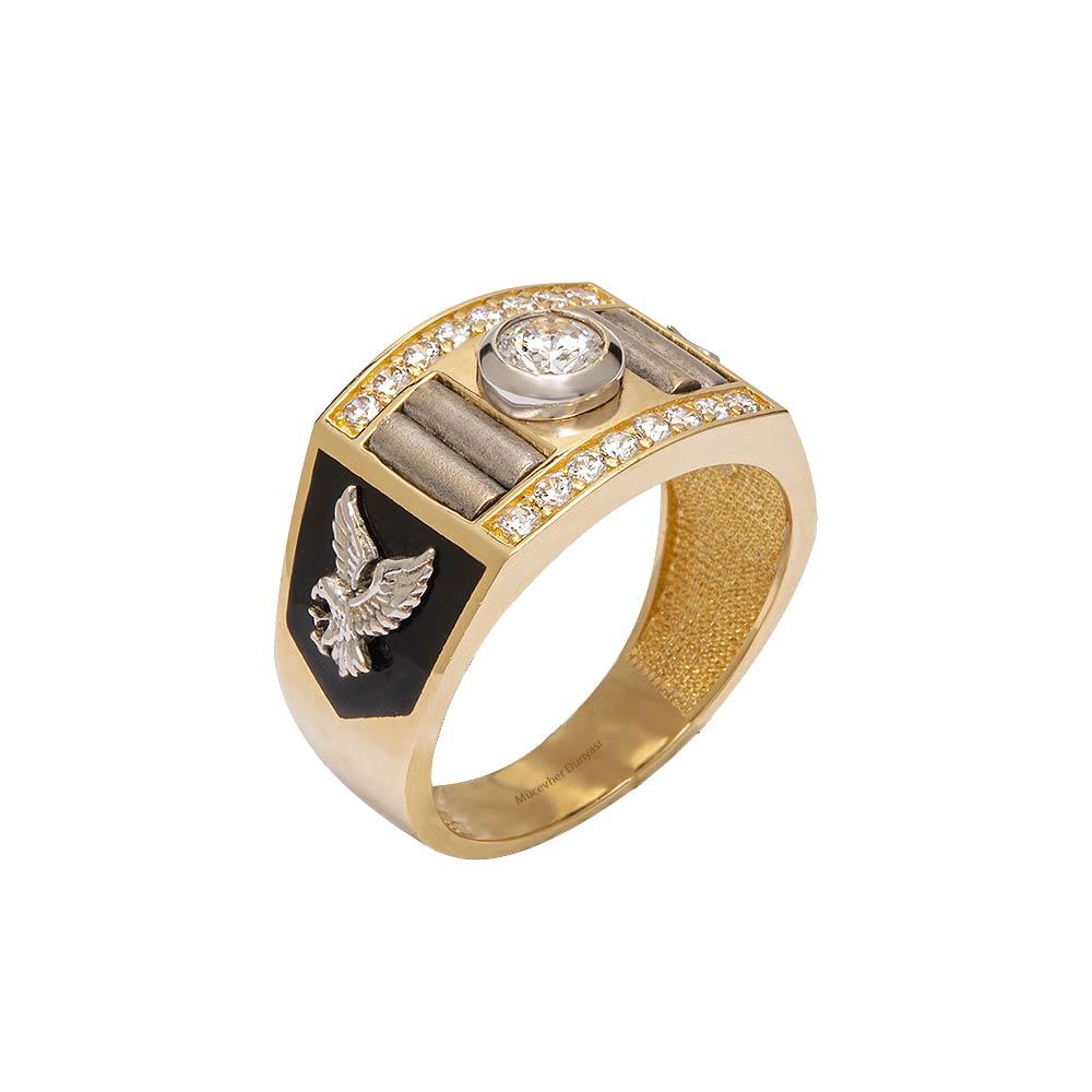 Mücevher Dünyası - 14 Ayar Taşlı Kartal Motifli Altın Yüzük