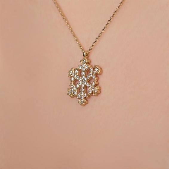 Mücevher Dünyası - 14 Ayar Taşlı Kartanesi Altın Kolye