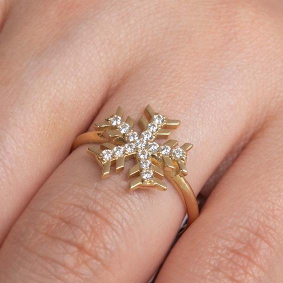 Mücevher Dünyası - 14 Ayar Taşlı Kartanesi Altın Yüzük - 17
