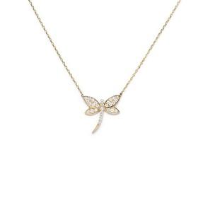 - 14 Ayar Taşlı Kelebek Altın Kolye