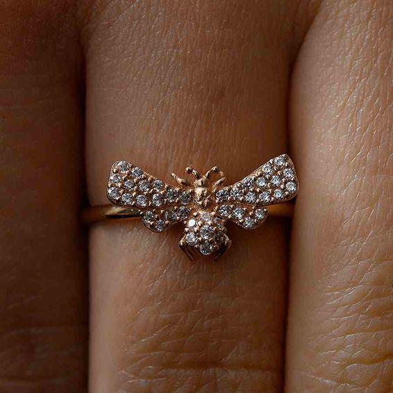 Mücevher Dünyası - 14 Ayar Taşlı Kelebek Altın Yüzük | Mücevher Dünyası