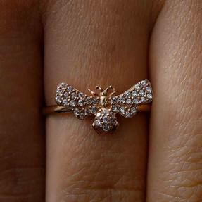- 14 Ayar Taşlı Kelebek Altın Yüzük | Mücevher Dünyası