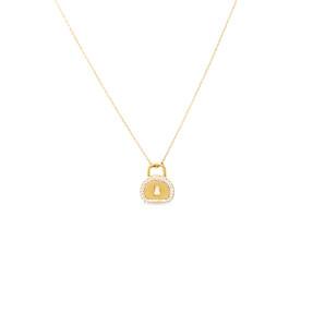 Mücevher Dünyası - 14 Ayar Taşlı Kilit Altın Kolye