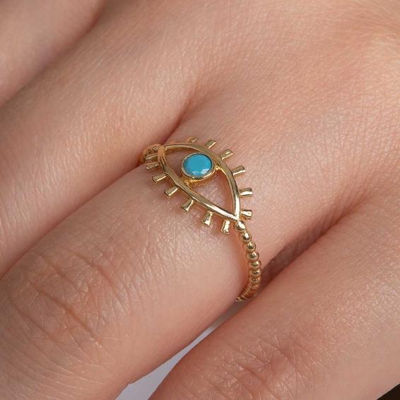 Mücevher Dünyası - 14 Ayar Taşlı Kirpik Göz Altın Yüzük - 12