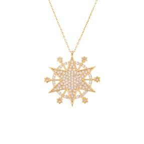 Mücevher Dünyası - 14 Ayar Taşlı Kristal Altın Kolye