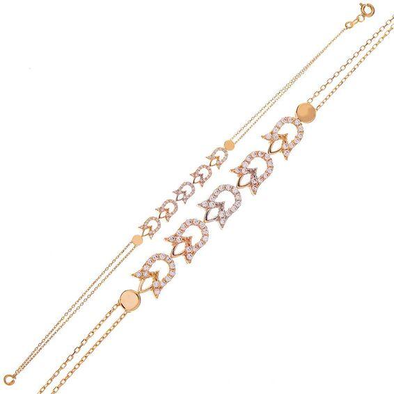 Mücevher Dünyası - 14 Ayar Taşlı Lale Desenli Altın Kolye
